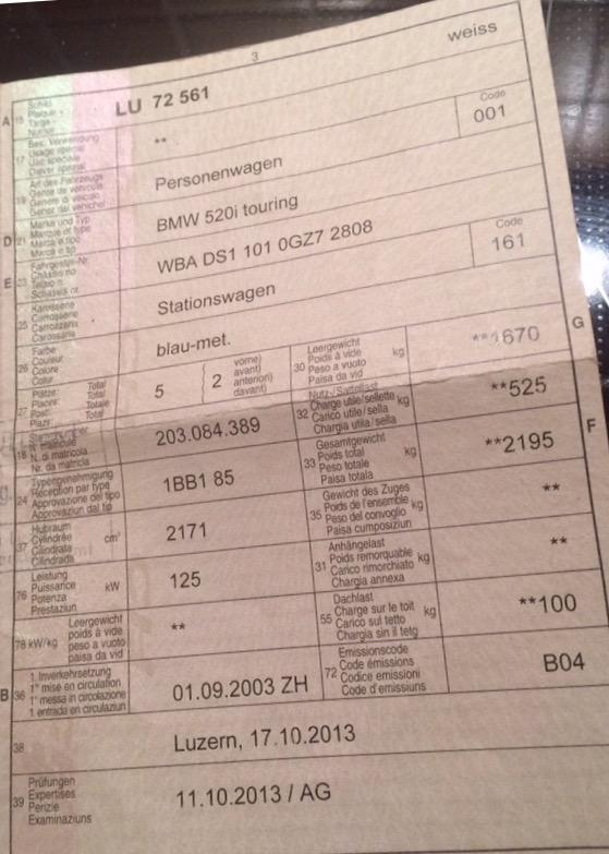 BMW520i **** Zulassung B04 BMW 3