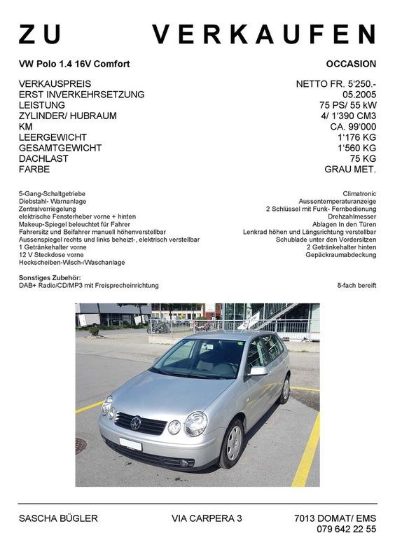 Occasion VW Polo 1.4 16V Comfort, Preis verhandelbar VW 1