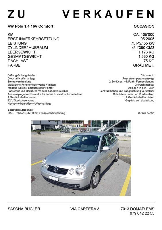 Occasion VW Polo 1.4 16V Comfort, mit MFK 04.18, Service und Zahnriemen neu VW 1