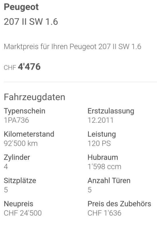 Peugeot 207sw, 1.6l, 120PS, 92500km Peugeot 4